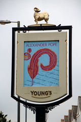 Pub sign for the Alexander Pope, Twickenham. (Peter Anthony Gorman) Tags: alexanderpopes youngsbrewery pubsigns twickenham
