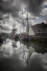 Pirate Saturday (Peter Trott) Tags: boats sails plymouth uk barbican clouds shadows reflections explore