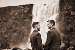 Alex & Brian (LalliSig) Tags: wedding photographer iceland þingvellir people portrait portraiture autumn october öxaráfoss water waterfall sepia black white gray