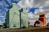 Prairie Sentinels – Nanton Alberta. (Bernard Spragg) Tags: prairiesentinels nantonalberta alberta nanton canada buildings lumix grainelevators