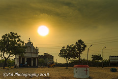 Sunset behind St.Antony's Church,Vembar Beach (ppaulvadivu) Tags: paulvadivu india vembar fishing boat canoneos70d canonef2470 gulf mannar seascape lighthouse jetty