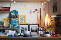 The Old Desk (not without my camera(s)) Tags: 2016 digital primelens 50mm desk writing crafting garland skateboard pictureframes lamp rainbowcolors pastel paint folders cards writerslife nanowrimo