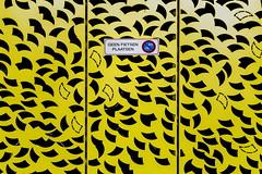 NO BIKES (Maerten Prins) Tags: netherlands nederland utrecht uithof campus universiteit university modern yellow bike nobikes metal parking pattern figures random sign geenfietsenplaatsen