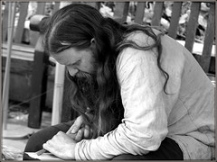 Craftsman (* RICHARD M (Over 7 MILLION VIEWS)) Tags: candid street portraits portraiture candidportraits candidportraiture streetportraits streetportraiture craftsman longhair beards bearded whiskers bewhiskered characters expressions concentration mono blackwhite artisan sefton merseyside southport woodcarver woodcarving woodworking woodworker skill skilled