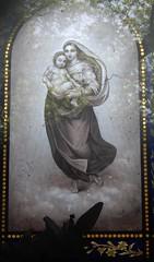 Cimetière de Montmartre: stained glass window in tomb (John Steedman) Tags: フランス france frankreich frankrijk francia parigi parijs 法国 パリ 巴黎 montmartre cimetièredemontmartre stainedglass stainedglasswindow vitrail cgth friedhof cimetière cemetery cementerio grave tomb