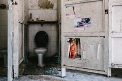 14/30 2017/04 (halagabor) Tags: urban exploration urbex urbanexploration lost lostplaces forgotten old abandoned abandonment decay derelict d610 nikon army military base building hungary hungarian budapest socialism soviet solitude 35mm nikkor vintagelens manualfocus devastation ruin ruins toilet closet restroom poster nude playboy naked memento
