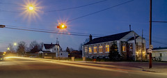 Busy Streets of Ellsworth (T P Mann Photography) Tags: dusk bluehour night lights townhall ellsworth michigan breezeway longexposure urban rural cityscape town light streaks