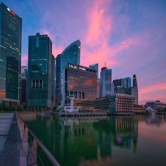 West Rising , Colors.. (yimING_) Tags: sunrise singapore algae urban cityscape clouds fullertonhotel fullertonbayhotel residential office reflection marina bay