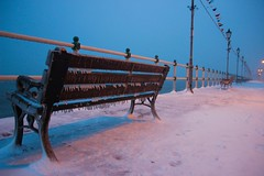 Frozen Coast (Vertigo Rod) Tags: penarth coast beach bench frozen icicles ice sea seaside freeze snow cold march 2018 wales south cymru welsh coastalpath coastal promenade
