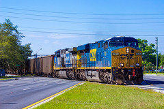 CSX O701-07 (T802-29) crossing US-41 in Lutz, FL 5-7-18 (tarellsallie) Tags: csx florida tampa lutz usa unitedstates america unitedstatesofamerica may 2018 ns up bnsf cp cn locomotive es44ac es44ah cw44ac generalelectric electromotive coal coaltrain engine highway canont3i macbook edit lightroom copyright