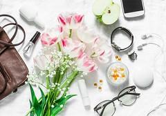 women's set... (sonja-ksu) Tags: stilllife women flowers accessories glasses bag cosmetics beauty fashion photography
