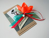 neon flower card (minttint) Tags: handmadecard flower orange neon green gingham check vintageillustration jeans craftpaper pearl blue embossing ribbons