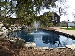 Lombard, IL, Lilacia Park, Spring, Pool with Fountain (Mary Warren 10.5+ Million Views) Tags: lombardil lilaciapark nature flora spring park garden architecture house building pool pond water fountain rocks limestone stones reflection blue