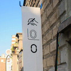 The flag of Siruca Wayfinding Project (Fabrizio Schiavi) Tags: stencil type:face=siruca exhibition milandesignweek normografo pictogram wayfinding insignia sign