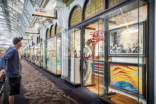 Man looking into the Dr. Seuss store at Queen Victoria Building (QVB)
