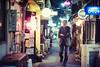 Lonely Night in Golden Gai (Jon Siegel) Tags: nikon nikkor d810 50mm 12 50mmf12ais 50mm12 man alone lonely walking night evening goldengai tokyo shinjuku japan japanese bars drinking culture cinematography cinematic people street candid