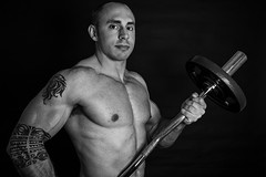 Easy (Best Snaps) Tags: bodybuilder blackandwhite training gym weights weight bar toned tattoos