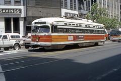 US CA San Francisco MUNI PCC 1163 6-1982 Market St (David Pirmann) Tags: california sanfrancisco muni tram trolley streetcar transit railroad transportation pcc