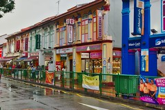 Colourful shop houses in Little India in Singapore (UweBKK (α 77 on )) Tags: color colour colorful colourful shop houses architecture building road street rain little india singapore southeast asia sony alpha 77 slt dslr