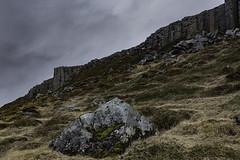 Basalt Cliff 1 (jessicalowell20) Tags: adventure basaltcliff clouds europe grass gray green iceland northatlanticocean rocks snaefellspeninsula spring summer tan travel volcanic westiceland
