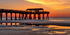 Tybee Pier (anj_p) Tags: tybeeisland ocean sunrise beach pier atlantic reflections puddle savannah