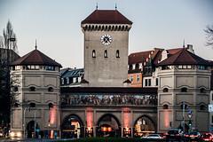 The other three gates (Melissa Maples) Tags: münchen munich deutschland germany europe nikon d3300 ニコン 尼康 nikkor afs 18200mm f3556g 18200mmf3556g vr winter evening dusk gate clocktower clock isartor
