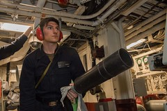180417-N-HD110-0318 (U.S. Pacific Fleet) Tags: sailor engineering pacificocean fireextinguisher usspearlharborlsd52 damagecontrol firefighting navy