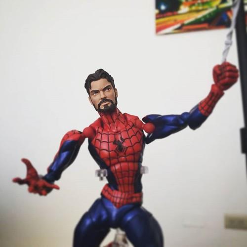 #marvellegends Unmasked Head on the Revoltech Amazing Yamaguchi Spider-Man #revoltechspiderman #kaiyodorevoltech