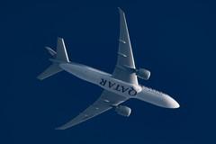 Qatar Airways Cargo Boeing 777-FDZ A7-BFH (Thames Air) Tags: qatar airways cargo boeing 777fdz a7bfh contrails telescope dobsonian overhead vapour trail