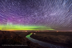 Star Trails over the Red Deer River (Amazing Sky Photography) Tags: advancedstackerplusactions alberta aurora badlands circumpolar drumheller northernlights orkneyviewpoint reddeerriver stack starcircleacademy nightscape north prairie reflection river sky startrails