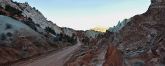 Grand Staircase Escalante - Coxcomb Panorama (Drriss & Marrionn) Tags: travel utah usa red landscape landscapes panorama mountains desert desertplains plains blue sky skies rock rockformation ridge cliff mountain grandstaircaseescalante mountainside road shadow dirtroad canyon soil rocks