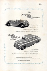 1951 Singer 1497cc Roadster & 1500 Saloo SM English Original Magazine Advertisement501 (Darren Marlow) Tags: 1 4 5 7 9 19 51 1951 singer 1497 r roadster 1500 saloon c car cool collectible collectors classic a automobile v vehicle e english england b british britain 50s