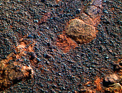 Embedded Rock in the Ground, variant (sjrankin) Tags: 21may2018 edited nasa mars opportunity endeavourcrater rgb colorized bands257 pebbles rocks sand
