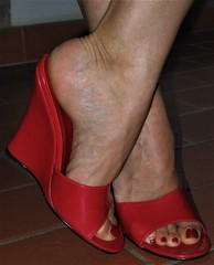 veiny feet in red wedges (al_garcia) Tags: veiny feet smelly sandals high heels toenail toering calloused rough soles painted anklet mule shoes clogs