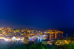 Hvar Town Nightscape (Wolfhowl) Tags: night spring landscape sunset stargazing sailing stars mountains harbor croatia town explore sea lights street adriatic nighttime dusk hvar travel boats hills may architecture seascape nightscape europe oldtown streetlights