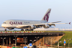 A380 / Qatar Airways / A7-APC (Verco91) Tags: qatar airways plane a380 a7apc landing airport paris roissy cdg runway sunrise