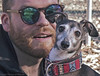 Portrait: A man and his dog (Pearce Levrais Photography) Tags: man dog whippet miniature grayhound pet sunglasses portrait outside outdoor canon 7d markii beard red milo park
