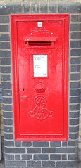 Elderly Post Box (AndrewHA's) Tags: post box cambridge railway statio edward 7th cypher red wall mounted