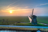 """Windmill """"F"""", Burgerbrug, The Netherlands. (Alex-de-Haas) Tags: burgerbrug dji dutch fc6310 holland molenf nederland nederlands netherlands noordholland achtkantebinnenkruier aerial aerialphotography air boerenland cirrus drone fog grondzeiler landscape landschaft landschap lucht meadows mill mist molen oldmill polder poldermolen skies sky sundown sunset weilanden windmill windmolen winter zonsondergang nl"""