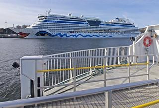 The cruise ship AIDAdiva in Stockholm, as seen from the commuter boat Sjövägen