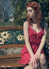 Shy Luna (makleen) Tags: redhead redhair luna model femalemodel vitalepark conesuslake fingerlakes newyork lakeville centralnewyork dress reddress floraldress bench flowers girl woman
