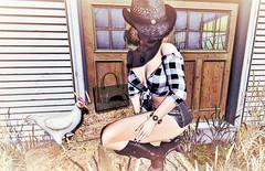 Dont You Dare Lay Your Eggs In My Purse !! (Sparkle Mocha) Tags: sexy princess truth uber apple fall jian swallow earthstones firestorm sl fashion secondlife firestrom catya catwa chicken barn cowboy hat avatar maitreya