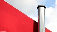 Red in the sky (patrick_milan) Tags: red metal minimal sky geometric ploudalmezeau