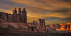 Gossip Sundown (McKendrickPhotography.com) Tags: archesnationalpark threegossips sheeprock courthousewash moab utahsunset clouds desert
