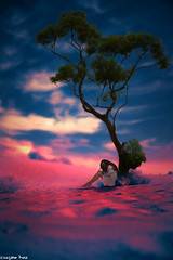 In solitude (gusdiaz) Tags: photoshop photomanipulatin digital art arte composite composition solitude loneliness tree sunset sunrise amanecer atardecer model modelo woman desierto desert clouds sky beautiful artistic artistico cielo nubes arbol bokeh depthoffield