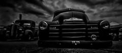 The Very Heavy Black Chevy (p.g604) Tags: classiccarssantapoddragracersovercast bedford england unitedkingdom gb 20180512imgp3459edit2 yvl125 chevrolet 1948 4700cc 2axlerigid body blackwhite muddyblack outoffocus lowpointofview lpv lowpov wideangle pentax k1 clouds