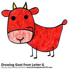 Goat from Letter G (drawingtutorials101.com) Tags: goat from letter g with animals letters sketch sketches draw drawing drawings color colors coloring how pencil pencils speed