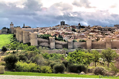 Safe and Sound in Avila (Jill Rowland) Tags: architecture spain europe castle fort brick walls green trees travel tourism canonphoto