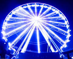 Skystar Ferris Wheel (MadHouse Pictures) Tags: ferris wheel louisville kentucky photo photograper photoshop artist digital graphic design fun attraction carnival sky bridge light golden hour color bright whimsical whimsy night day vibrant