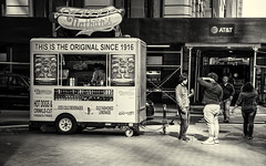 Lunch Wagon (PAJ880) Tags: nathans hot dogs lunch cart lower manhattan nyc new york water st financial district urban bw mono